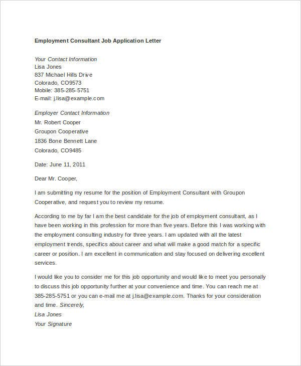 example of job application letter