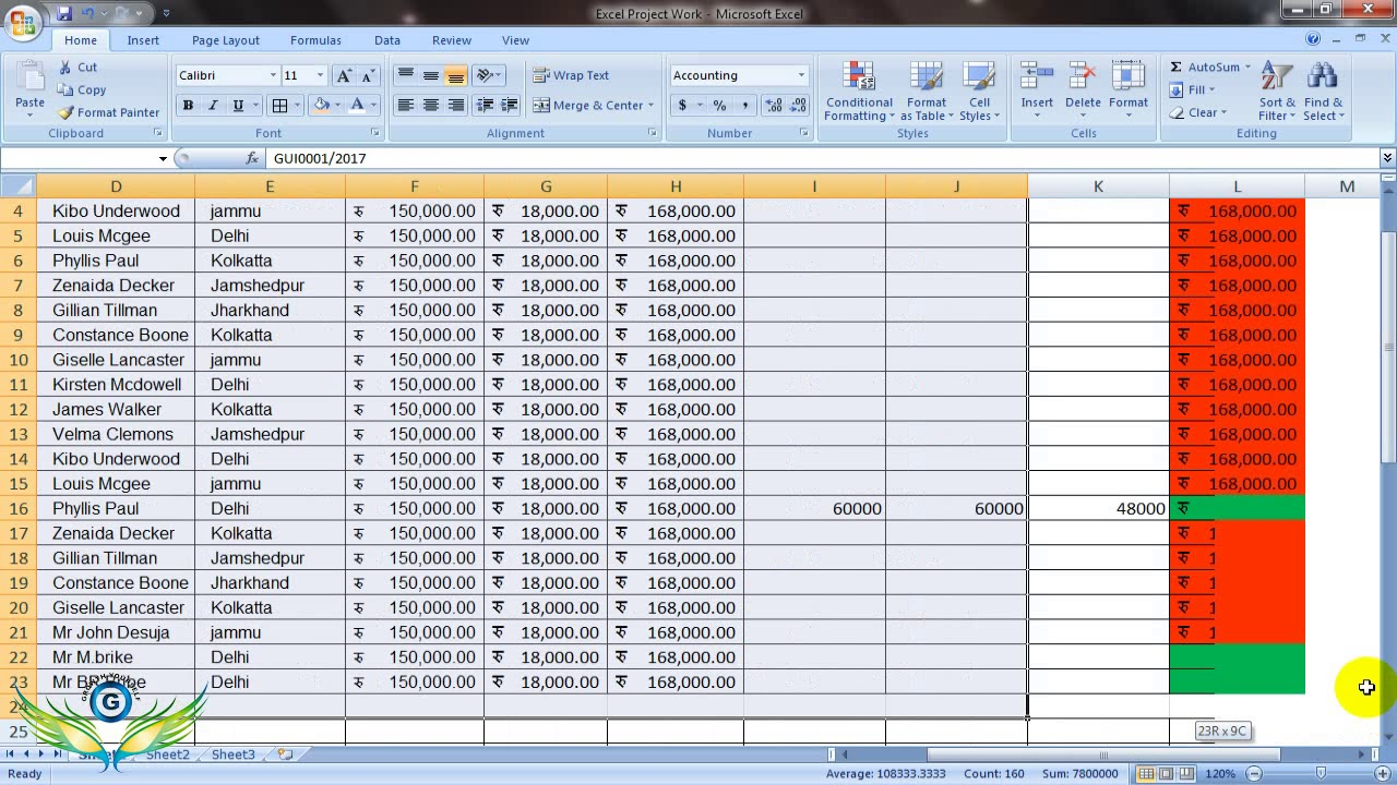 excel projects for students pdf