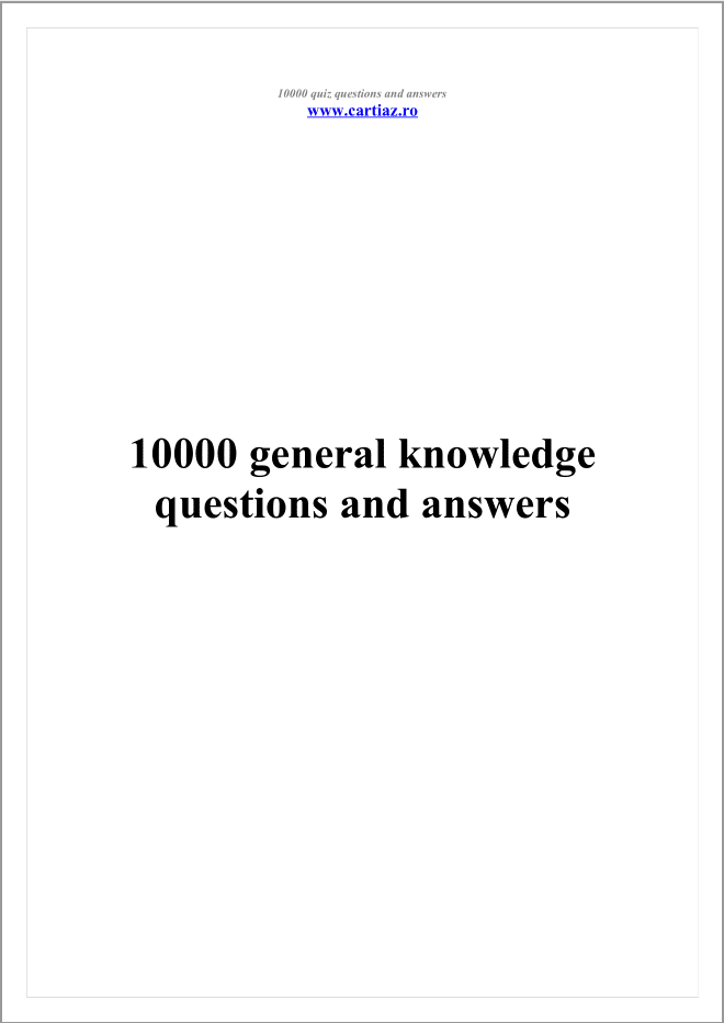 general knowledge quiz for students with answers pdf
