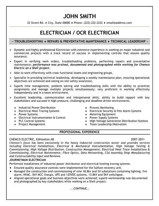electrician cv sample