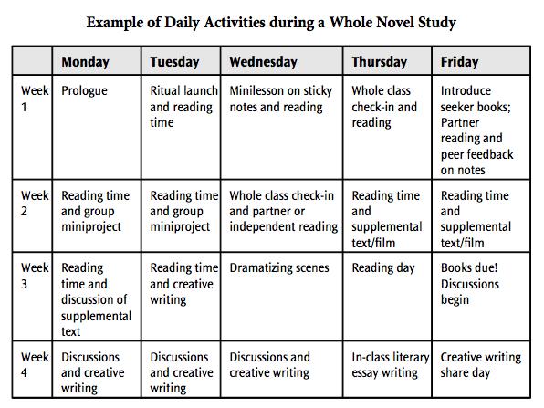 how to create a novel study guide