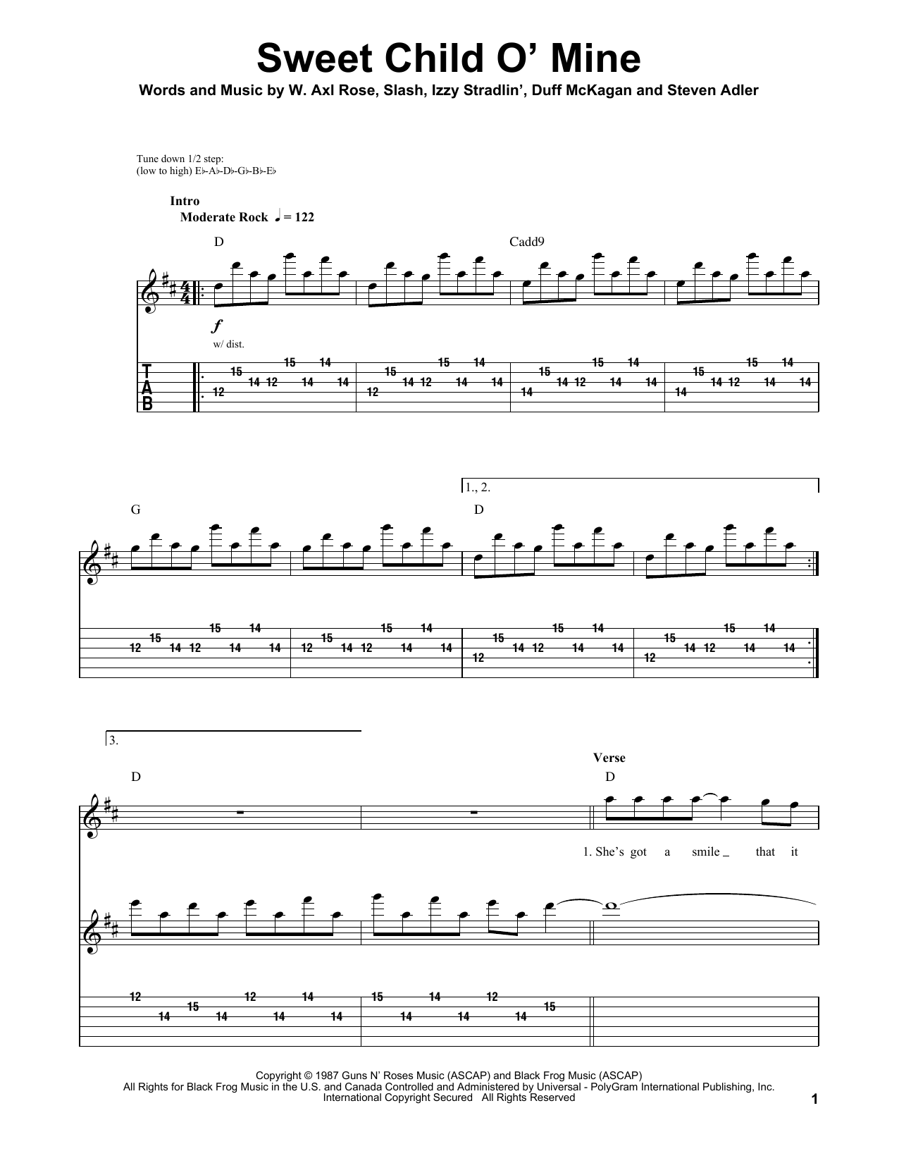guns and roses sweet child of mine tab pdf
