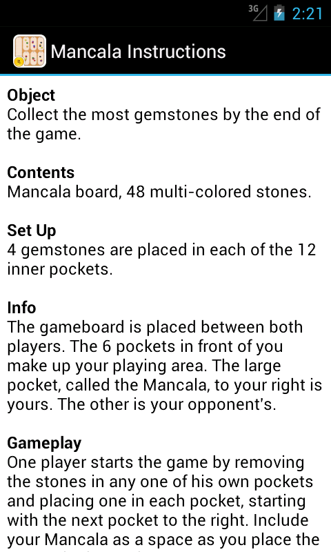 instructions for mancala board game