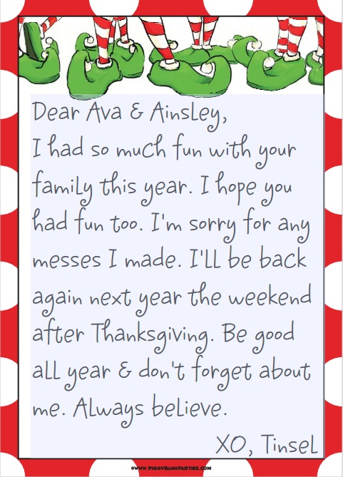 elf on the shelf welcome letter pdf
