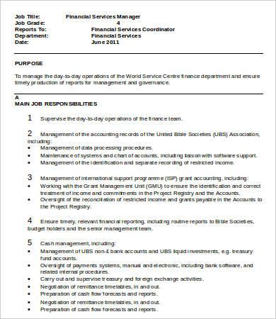 finance and administration manager job description pdf
