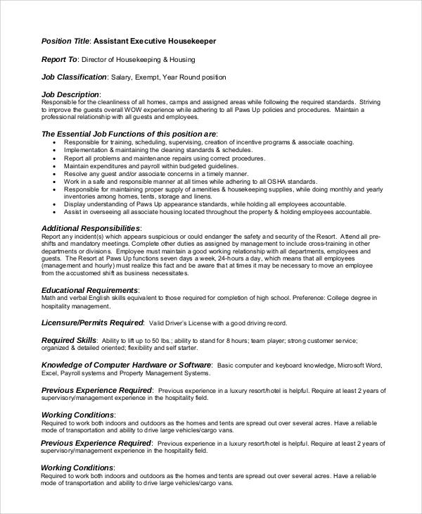 executive assistant job description sample