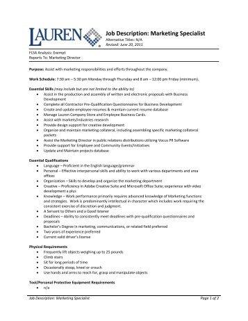 marketing specialist job description pdf
