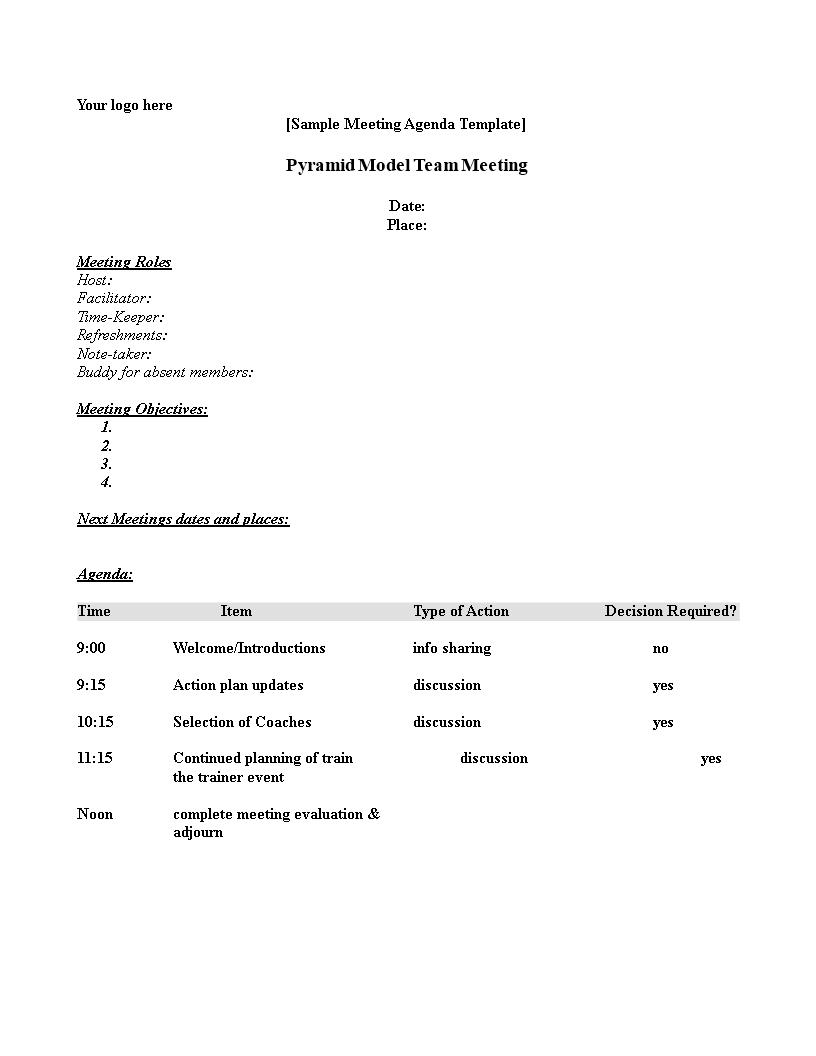 formal meeting agenda template sample
