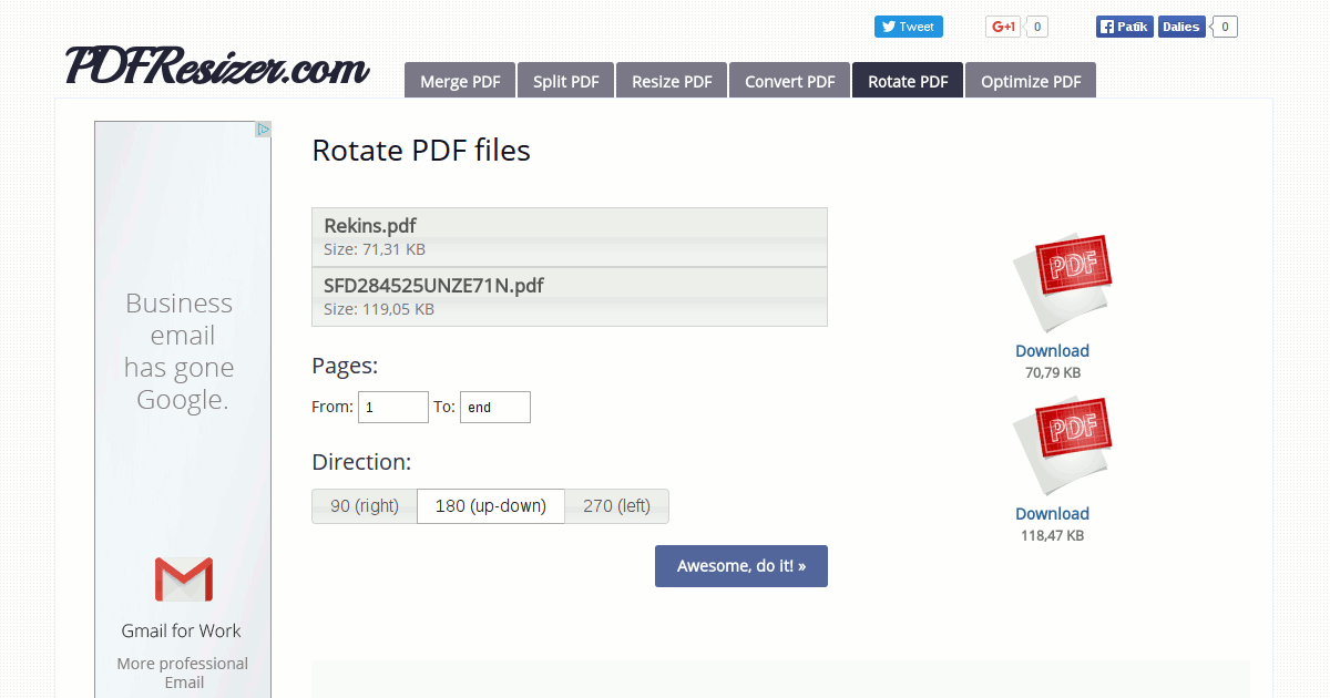 how to rotate pdf file page