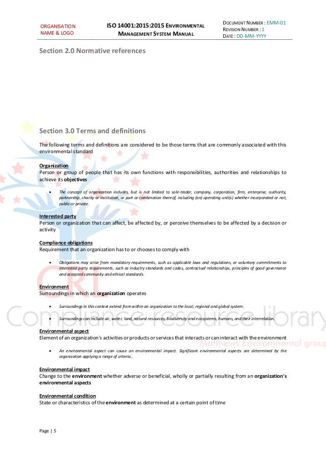 iso 14001 2015 sample documents