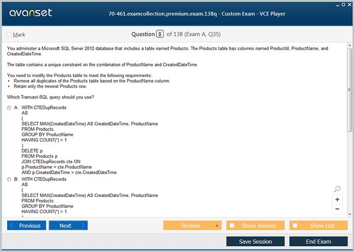 exam 70 461 dumps pdf