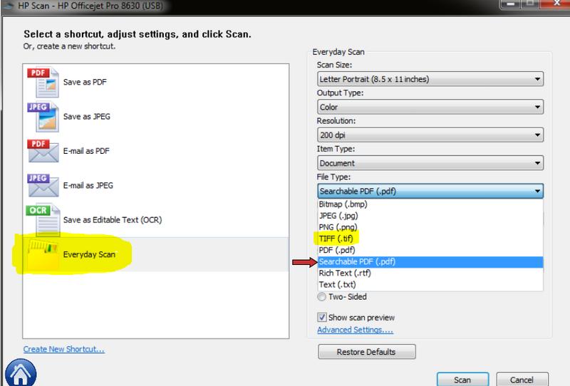 hp officejet pro 8620 scan to pdf