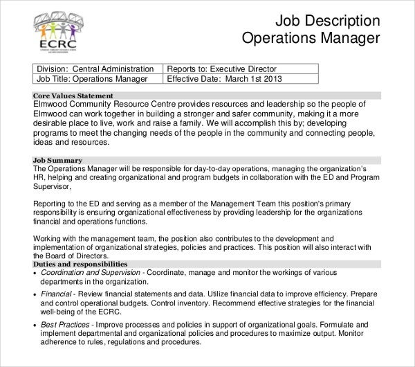finance and administration manager job description pdf