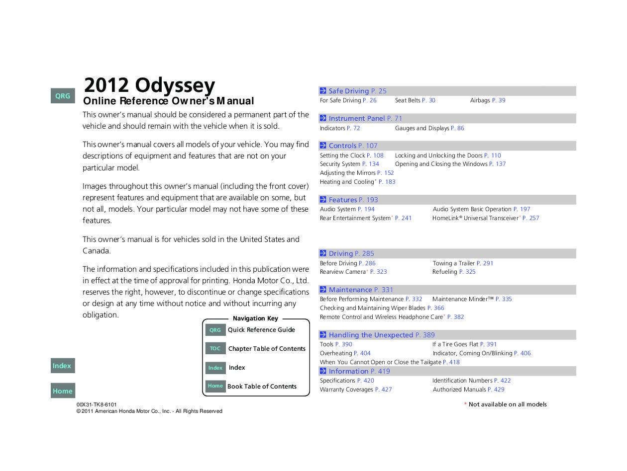 honda odyssey absolute 2004 user manual