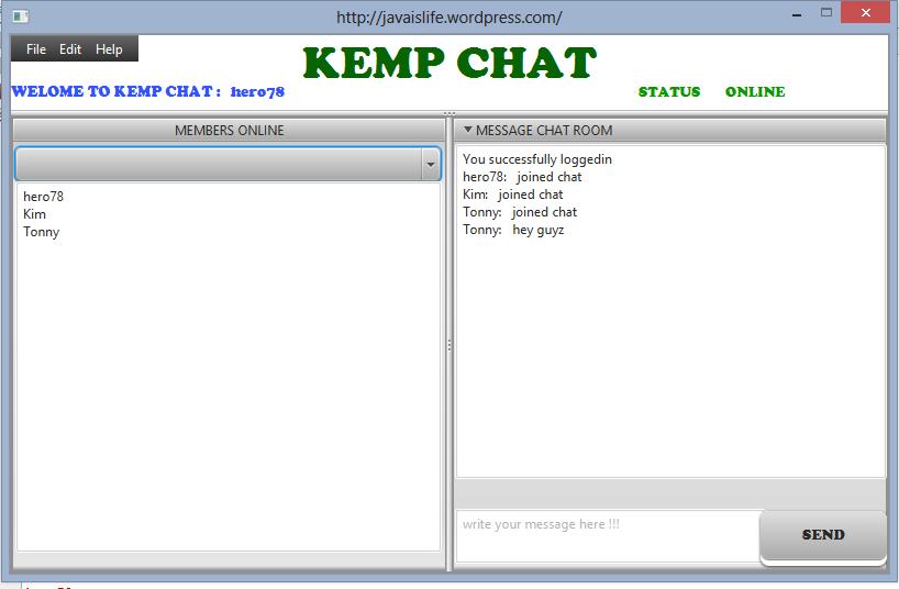 java chat application nickname