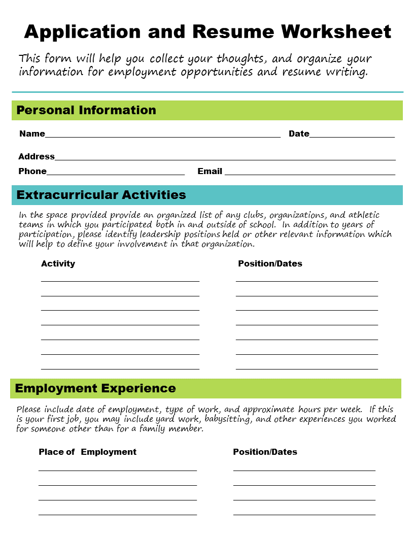 job application help skills